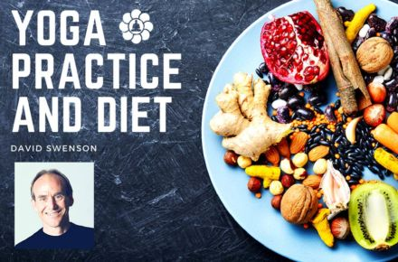 Yoga Practice and diet blog post with image of fruit and nut salad and writer, David Swenson