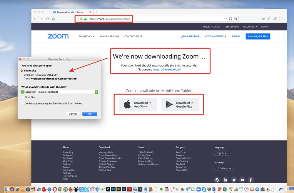 install zoom desktop app